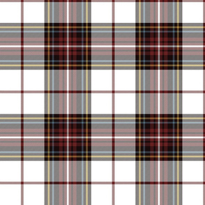 "King George VI tartan, white ground, red stripe, 8"" weathered"