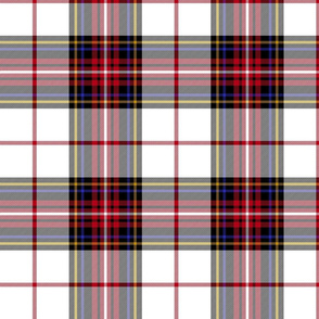 "King George VI tartan, white ground, red stripe, 8"" modern"