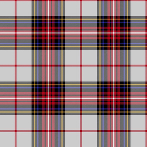 "King George VI tartan, light grey ground, red stripe, 8"" weathered"