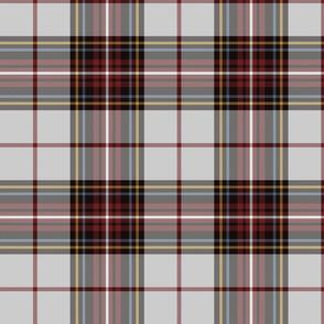 "King George VI tartan, light grey ground, red stripe, 8"" weathered"
