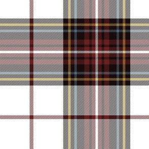 "King George VI tartan, white ground, red stripe, 7"" weathered"