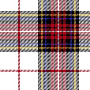 "King George VI tartan, white ground, red stripe, 7"" modern"