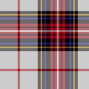 "King George VI tartan, light grey ground, red stripe, 7"" modern"