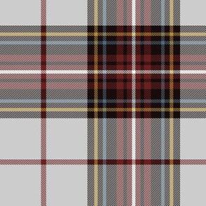 "King George VI tartan, light grey ground, red stripe, 7"" weathered"
