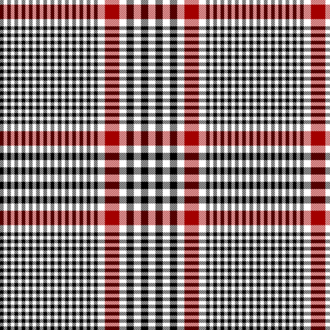 """Prince of Wales check #1, 5"""" repeat, black/white/red fabric by weavingmajor on Spoonflower - custom fabric"""
