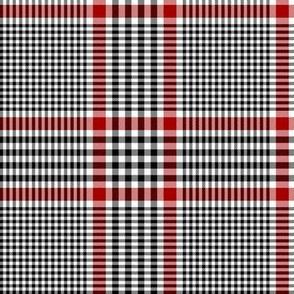 "Prince of Wales check #1, 5"" repeat, black/white/red"