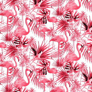 Hot Pinky Pink Flamingos and Leaves