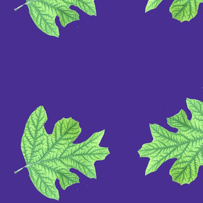 Double Green Leaf on Blue