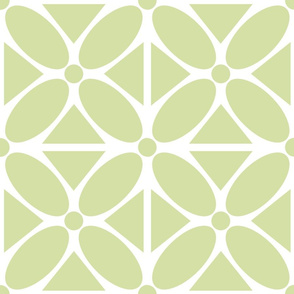 Modern Oval Petals and Triangles in Celery, Large Scale Floral
