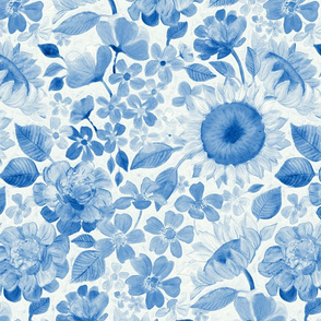 Denim Blue Monochrome Retro Floral - large print