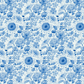 Denim Blue Monochrome Retro Floral - small print