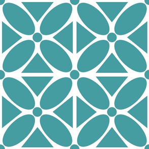 Jumbo Scale Modern Oval Petals and Triangles in Teal, Large Scale Upholstery Floral
