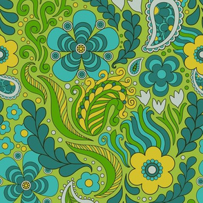 Groovy Floral Green large scale