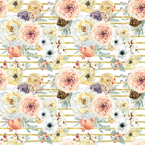"""4"""" Vintage Christmas Florals // Gold Stripes fabric by hipkiddesigns on Spoonflower - custom fabric"""