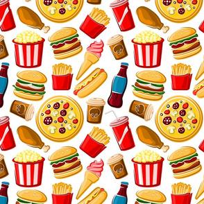 Snack Food Cartoon on White