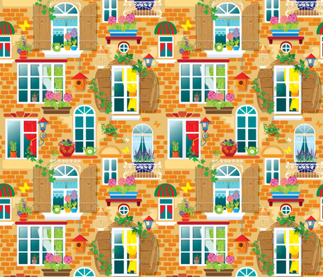 My Home Flower Pots in Window fabric by fabric_is_my_name on Spoonflower - custom fabric