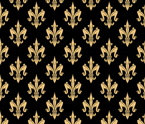 Fleur de Lyse Gold on Black fabric by fabric_is_my_name on Spoonflower - custom fabric