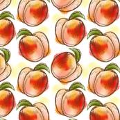 Watercolor Peaches on Cream