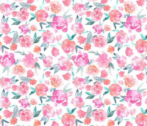 Watercolor Floral - Smaller Scale fabric by writtenbykristen on Spoonflower - custom fabric