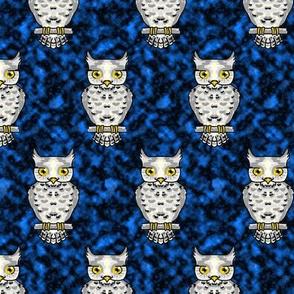 Ms Owl on Blue