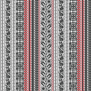 Floral Striped Border Black Red on White