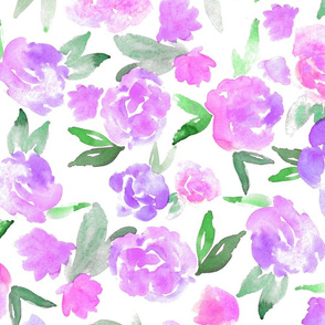 Watercolor Floral - purple - larger scale
