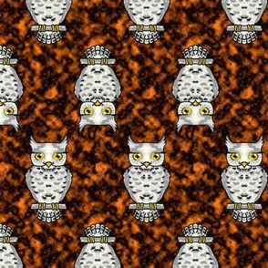 Ms Owl on Orange Up and Down