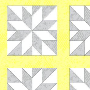 Cheater Quilt Yellow Gray Grey Lemon Le Moyne Star With Sashing  _ Miss Chiff Designs