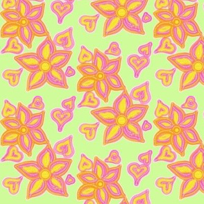 For the Love of Hearts and Flowers on Pale Green