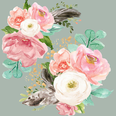 "8"" Boho Pink Teal Florals // Edward Green fabric by hipkiddesigns on Spoonflower - custom fabric"
