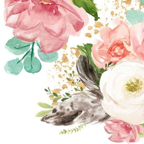 "12"" Boho Pink Teal Florals // White"