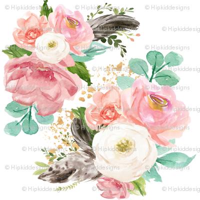 "4"" Boho Pink Teal Florals // White"