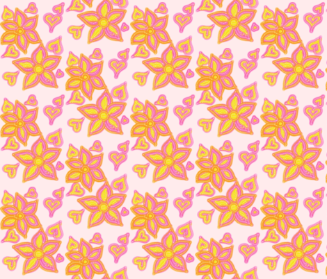 For the Love of Hearts and Flowers on Misty Pink fabric by rhondadesigns on Spoonflower - custom fabric