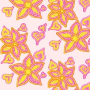 For the Love of Hearts and Flowers on Misty Pink