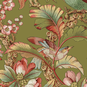 Edwardian Parrot ~ Dogwood Dream on Thomas  (Parrot centered on a yard)