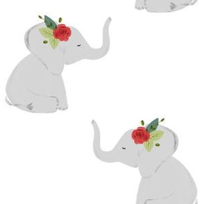 floral elephants // red rose