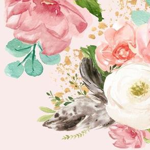 """12"""" Boho Pink Teal Florals // Pale Blush"""