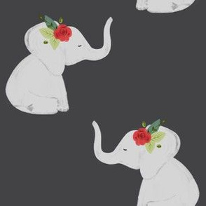 floral elephants // red rose // charcoal gray