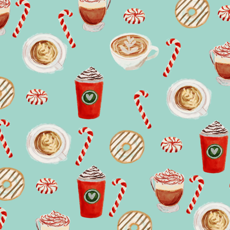 watercolor peppermint latte, coffee and donuts, christmas, xmas, holiday fabric, candy cane - mint fabric by charlottewinter on Spoonflower - custom fabric