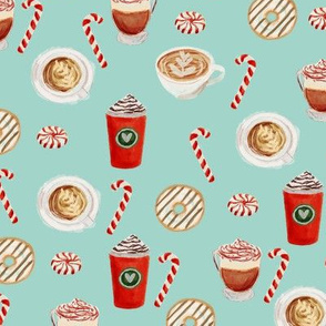 watercolor peppermint latte, coffee and donuts, christmas, xmas, holiday fabric, candy cane - mint