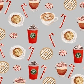 watercolor peppermint latte, coffee and donuts, christmas, xmas, holiday fabric, candy cane - grey