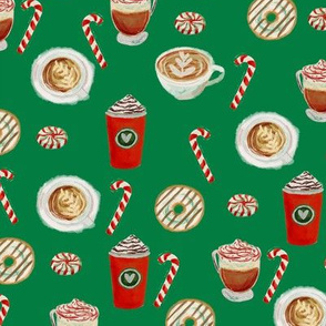 watercolor peppermint latte, coffee and donuts, christmas, xmas, holiday fabric, candy cane - green