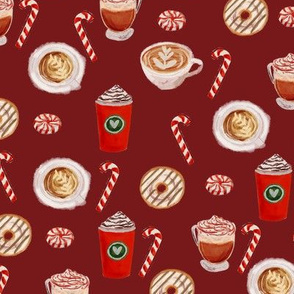 watercolor peppermint latte, coffee and donuts, christmas, xmas, holiday fabric, candy cane - burgundy