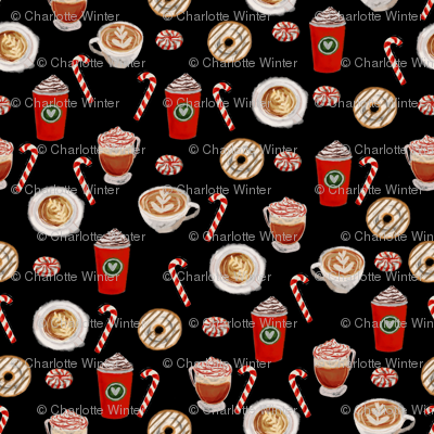 watercolor peppermint latte, coffee and donuts, christmas, xmas, holiday fabric, candy cane - black