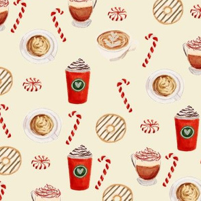watercolor peppermint latte, coffee and donuts, christmas, xmas, holiday fabric, candy cane - crema