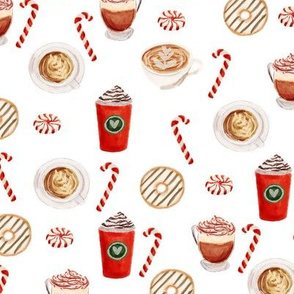 watercolor peppermint latte, coffee and donuts, christmas, xmas, holiday fabric, candy cane - white