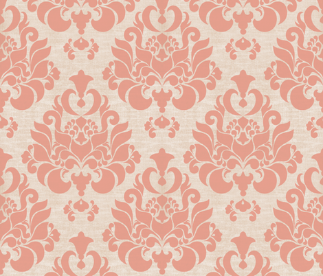 Victorian Pink Damask Wallpaper Mint Tulips Spoonflower