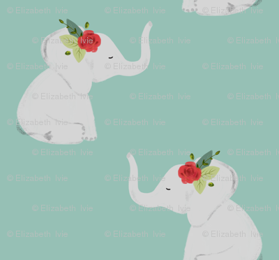 floral elephants // red rose // aqua