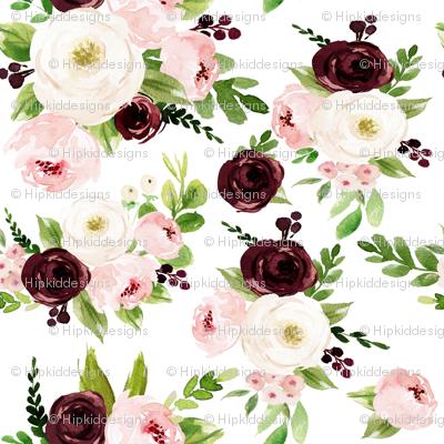 "8"" Rustic Burgundy Blush Florals // White"