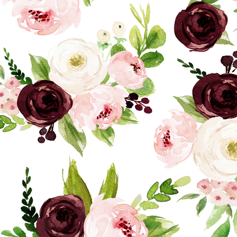 "12"" Rustic Burgundy Blush Florals // White fabric by hipkiddesigns on Spoonflower - custom fabric"